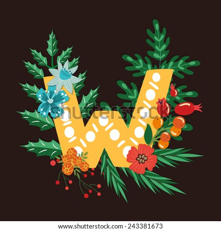 Vector floral letter made from leaves, branches, berries and flowers. Bright botanical alphabet. Vintage hand drawing character. Letter W. - stock vector