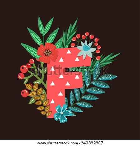 Vector floral letter made from leaves, branches, berries and flowers. Bright botanical alphabet. Vintage hand drawing character. Letter F. - stock vector