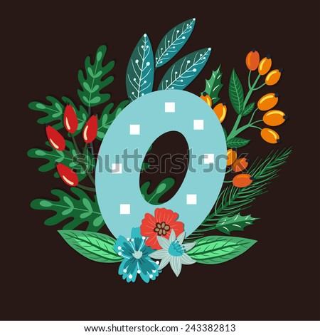 Vector floral letter made from leaves, branches, berries and flowers. Bright botanical alphabet. Vintage hand drawing character. Letter O. - stock vector