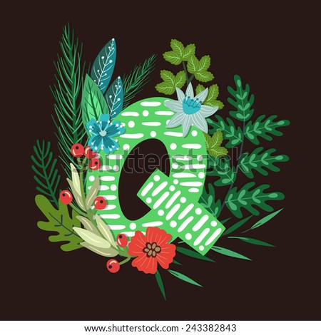 Vector floral letter made from leaves, branches, berries and flowers. Bright botanical alphabet. Vintage hand drawing character. Letter Q. - stock vector
