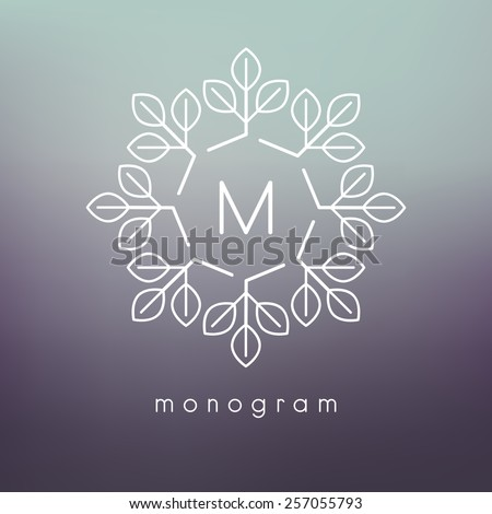 Vector floral monogram. Modern minimalist template for branding and logo design. Modern elegant frame with leaves. Blurred green and violet backdrop. Contemporary graphic eco design. - stock vector