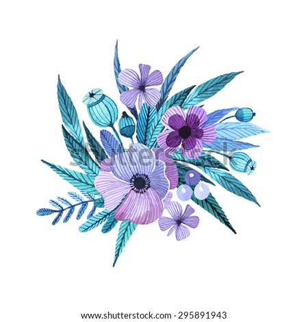Vector floral motif in watercolor style. Composition of flowers, leaves and berries. Delicate, feminine colors in lilac tones painted by hand. A composition for invitations, greeting cards, covers. - stock vector