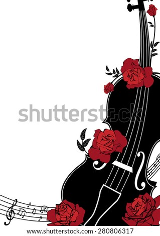 Vector floral musical composition with violin and roses in red, black and white colors - stock vector