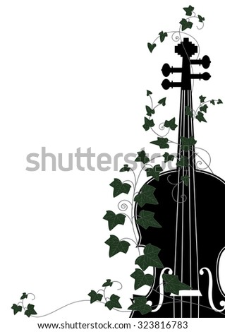 Vector floral musical composition with violin end ivy  - stock vector