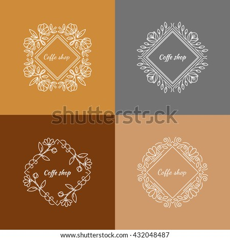 Vector floral outline frames and borders - abstract logo design templates for tea, coffee and organic shops. - stock vector