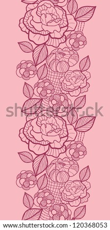 Vector floral red line art vertical seamless pattern ornament with hand drawn flowers on light pink background - stock vector