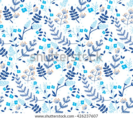 Vector floral seamless pattern in doodle style with flowers and leaves. Gentle, winter, floral background. - stock vector