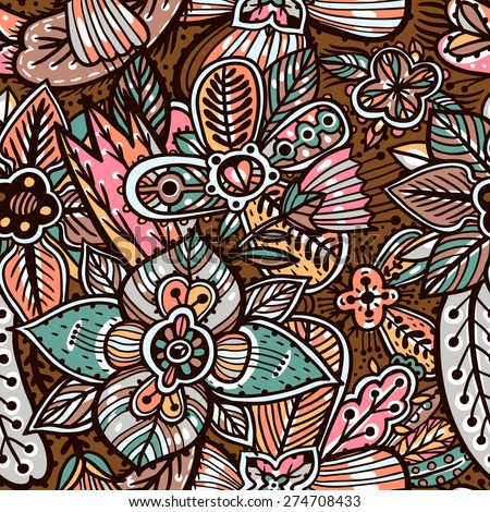 vector floral seamless pattern with abstract hand drawn flowers - stock vector