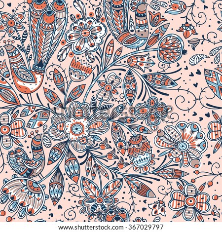 vector floral seamless pattern with colorful folk flowers and birds - stock vector