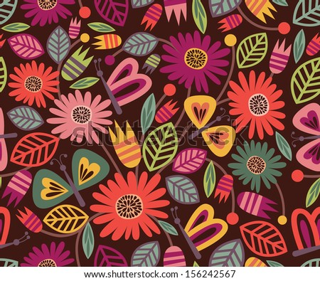 Vector Floral Seamless Pattern with Cute Butterflies on Dark Background, Ideal for Fabric Designs and Wallpapers - stock vector
