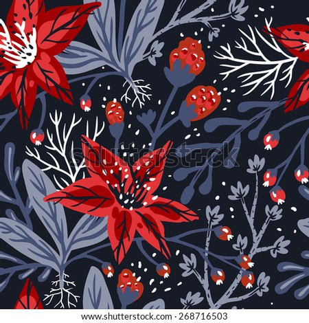 vector floral seamless pattern with exotic red flowers on a dark background - stock vector