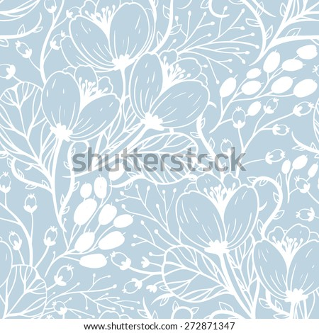 vector floral seamless pattern with hand drawn flowers and berries - stock vector