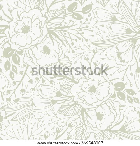 vector floral seamless pattern with hand drawn vintage  blooms - stock vector