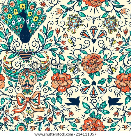 vector floral seamless pattern with ornamental skulls , peacocks and vintage roses - stock vector
