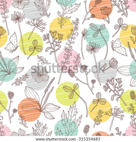 Vector floral seamless pattern with polka dots. Botany. Seamless pattern can be used for wallpaper, pattern fills, web page background, surface textures. - stock vector