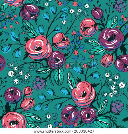 vector floral seamless pattern with roses and berries - stock vector