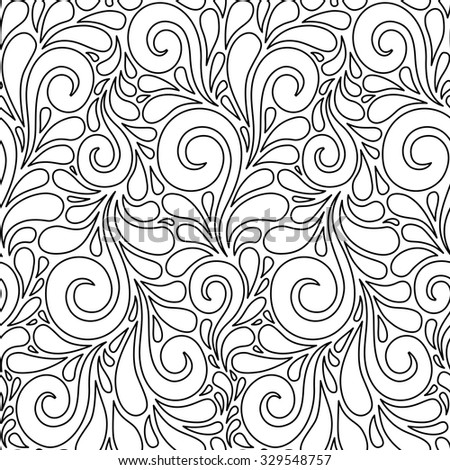 Vector floral seamless pattern with swirl shapes. Black and white linear background. Decorative illustration for print, web - stock vector