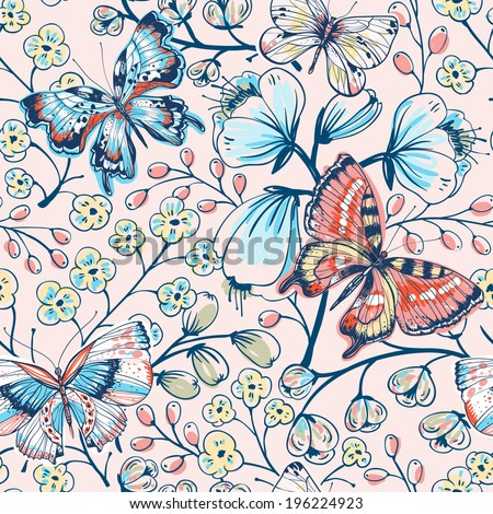 vector floral seamless pattern with vintage butterflies and flowers - stock vector