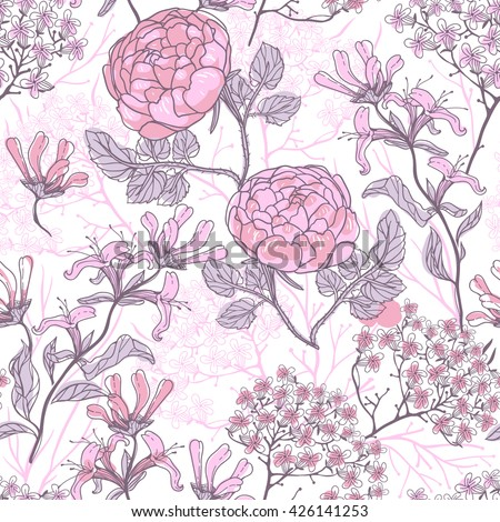 vector floral seamless pattern with vintage roses and plants - stock vector
