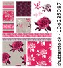 Vector Floral Seamless Patterns.  Great for textile projects or digital paper for scrap booking or other craft projects. - stock vector