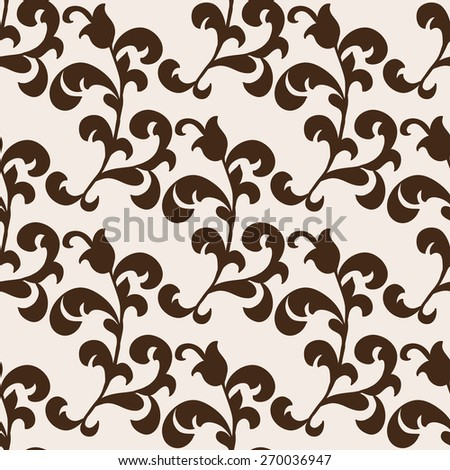 Vector floral seamless vintage pattern in brown colors - stock vector