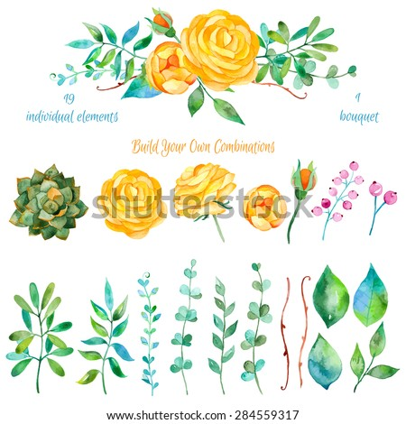 Vector floral set.Colorful floral collection with leaves and flowers, drawing watercolor.Colorful floral collection with flowers + 1 beautiful bouquet.Set of floral elements for your compositions. - stock vector