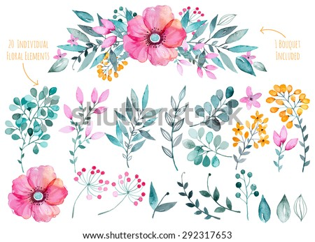 Vector floral set.Colorful purple floral collection with leaves and flowers,drawing watercolor.Colorful floral collection with flowers+1 beautiful bouquet.Set of floral elements for your compositions. - stock vector