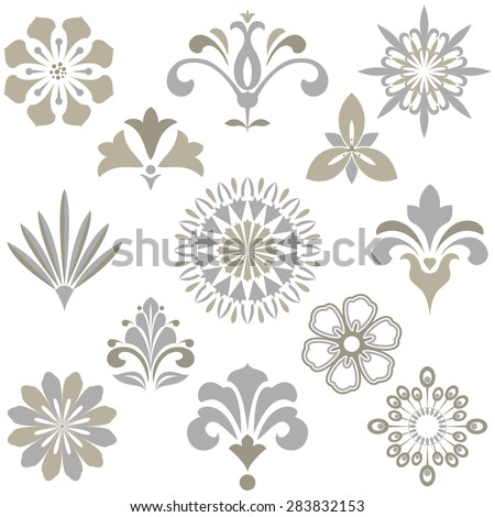 Vector floral set.  Spring or summer design for invitation, wedding or greeting cards. Design elements in graphic style. - stock vector