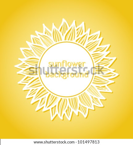 vector floral summer background with sunflower - stock vector