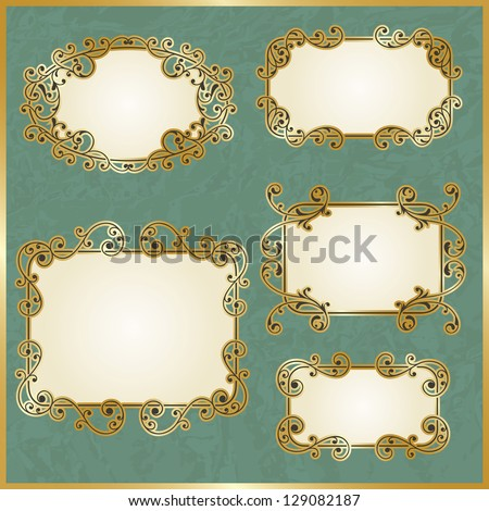 vector floral swirly golden frames on crumpled paper texture, fully editable eps 10 file - stock vector
