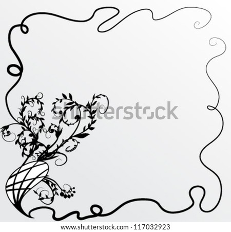 Vector Floral vintage background. Black and grey - stock vector