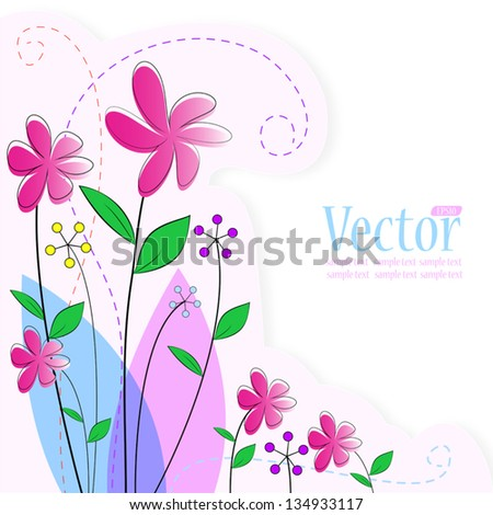 Vector flower background with greeting card. - stock vector