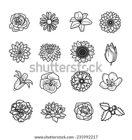 Vector flower black icon set - stock vector