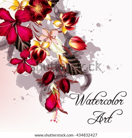 Vector flower design with hibiscus flowers and floris in watercolor style - stock vector