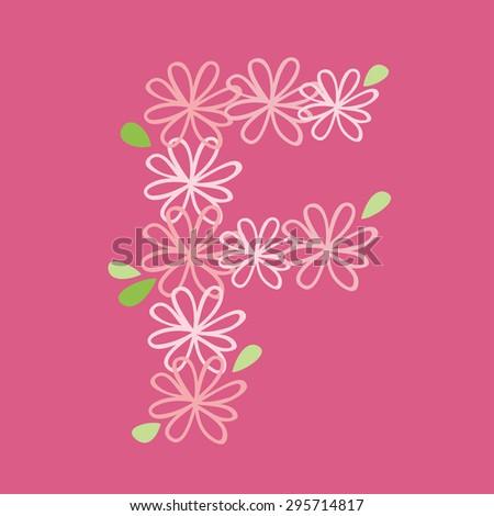 vector flower font, capital Alphabet Letter F - stock vector