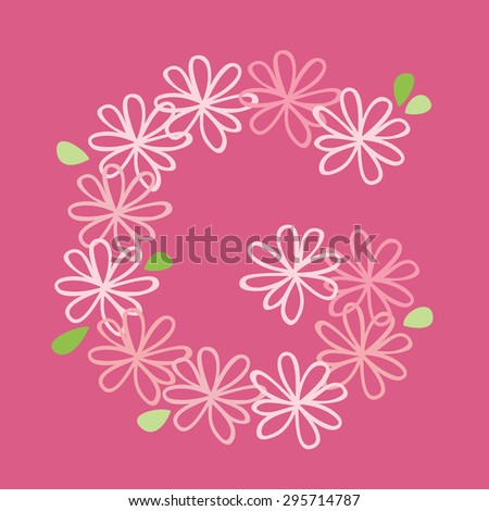 vector flower font, capital Alphabet Letter G - stock vector