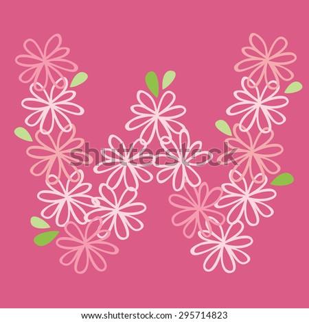 vector flower font, capital Alphabet Letter W - stock vector