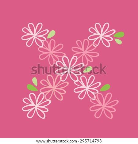 vector flower font, capital Alphabet Letter X - stock vector