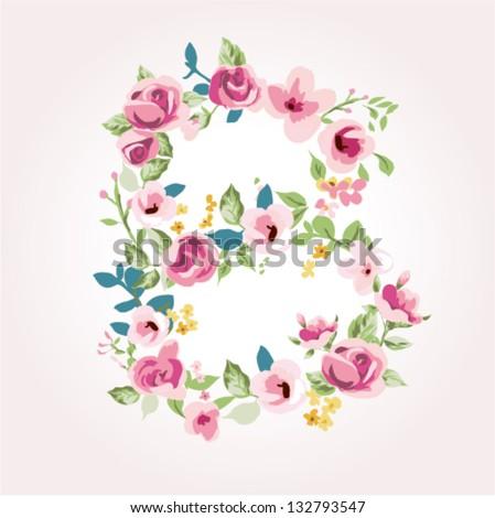vector flower font,capital B - stock vector
