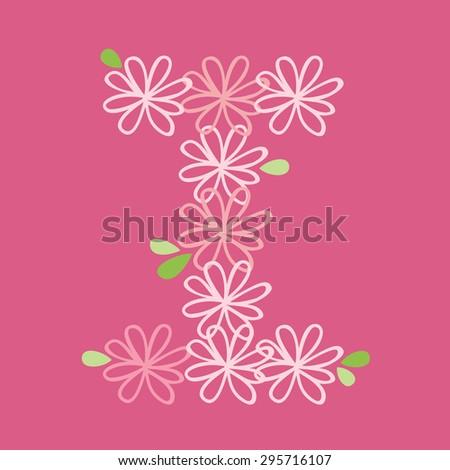 vector flower font, capital I - stock vector