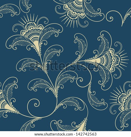 Vector flower paisley seamless pattern element. Elegant texture for backgrounds. - stock vector