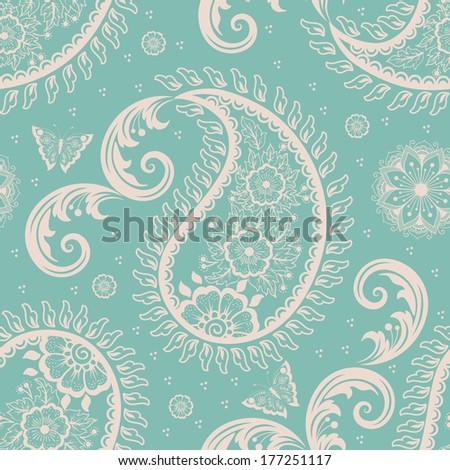 Vector flower paisley seamless pattern element. Elegant texture for backgrounds. - stock vector