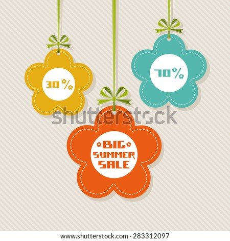 Vector flower tag. Floral summery banner. Background with ribbon and bow. Big summer sale. Illustration for print, web - stock vector