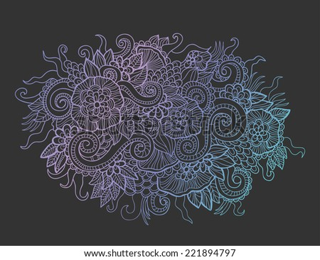 Vector flowers and waves ornament. Can be used for wallpaper, pattern fills, web page background,surface textures. Hand drawn ornament. - stock vector
