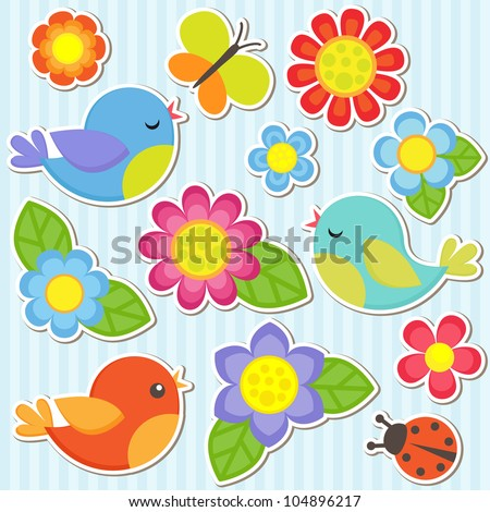 Vector flowers, birds, butterfly and ladybug - stock vector