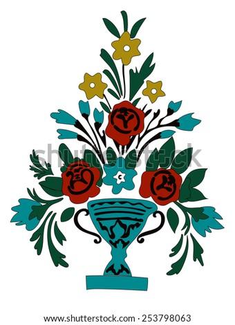 Vector Flowers Bouquet  in vase - stock vector
