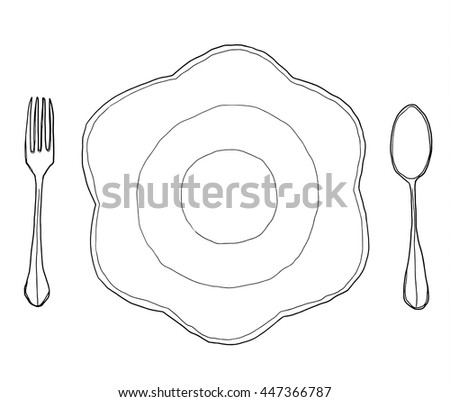 vector flowers dish plate Shape  and  fork spoon hand drawn line art cute illustration - stock vector