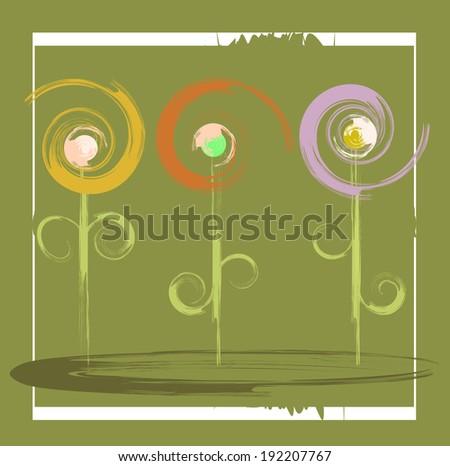 vector flowers primitive - stock vector