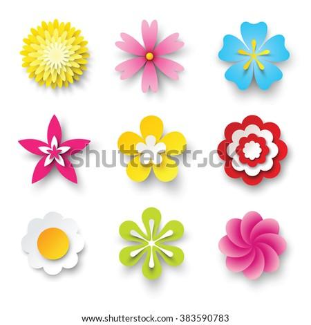 vector flowers set - stock vector