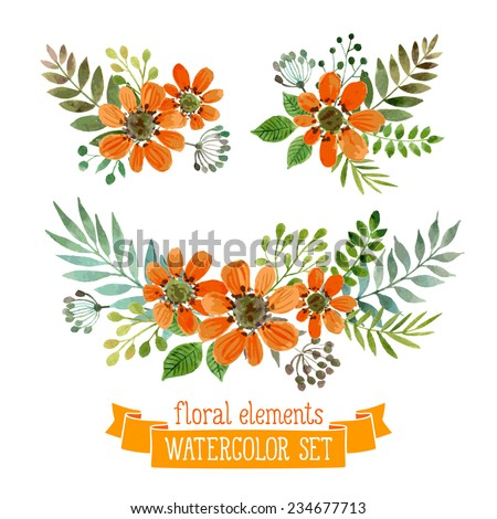 Vector flowers set. Colorful floral collection with leaves and flowers, drawing watercolor. Spring or summer design for invitation, wedding or greeting cards - stock vector